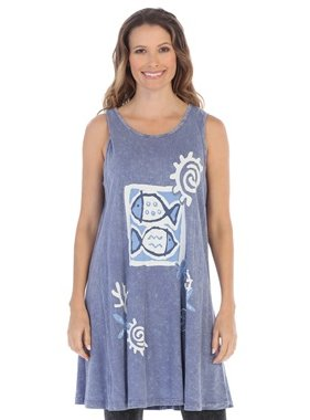 Jess & Jane Sea and Sun Printed Mineral Washed Sleeveless tunic