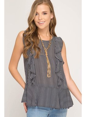 She + Sky Sleeveless woven striped top with ruffle detail