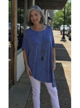 D and D Wholesale Garment Dyed One Size Asymetric Hem Tunic