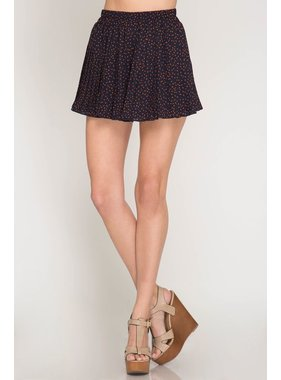 She + Sky Star print woven pleated shorts