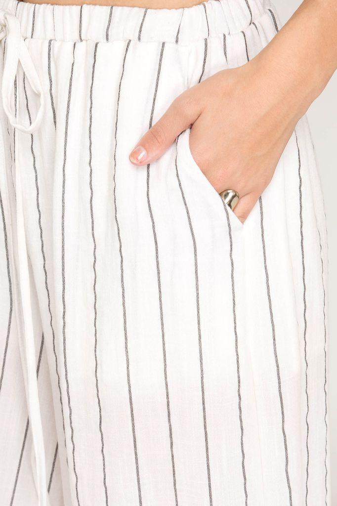 She + Sky Woven Stripe Cullote Pants