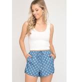 She + Sky Star Print Denim Shorts