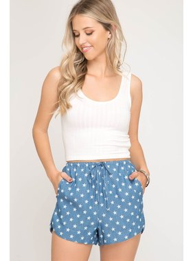 She + Sky Star Print Denim Shorts