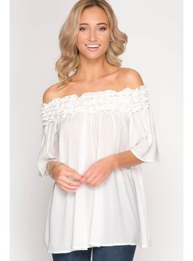 She + Sky Off Shoulder Tunic Top with Ruffle Ruching Detail