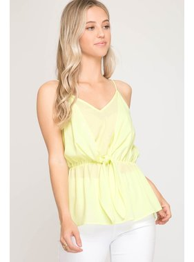 She + Sky Sleeveless Woven Cami Top with Front Waist Tie Detail