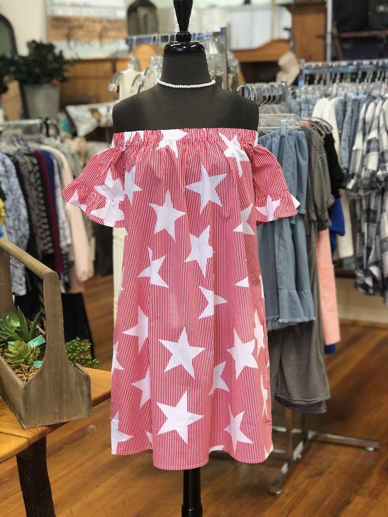 Fantastic Fawn Star Printed Off Shoulder Short Dress