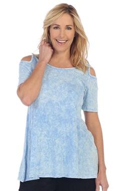 Jess & Jane Mineral Washed 100% Cotton Cold Shoulder Tunic by Jess & Jane