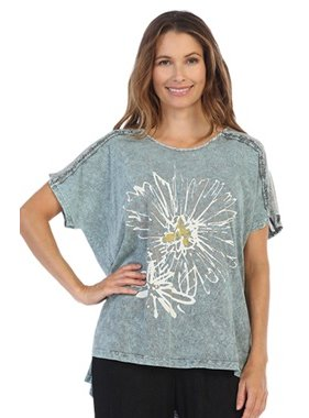 Jess & Jane Mono Flower Print Mineral Washed Top