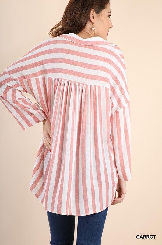Umgee Striped Collard Tunic