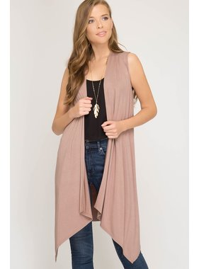 She + Sky Sleeveless Open Knit Cardigan