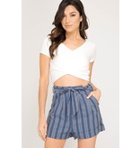 She + Sky Striped Woven Cuffed Short