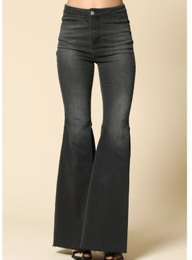 By Together Super Flared Bell Bottom Jeans with distressed cut edge bottoms