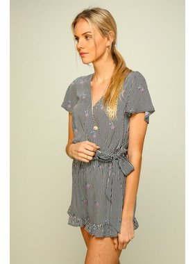 Lumiere Short Sleeve Ruffle Romper with Tie