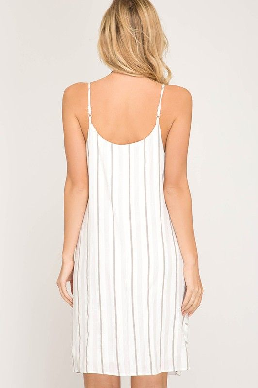 She + Sky Striped Woven Cami Dress With Waist Tie