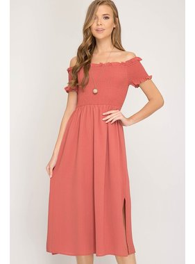 She + Sky Short Sleeve Off The Shoulder Smocked Woven Midi Dress