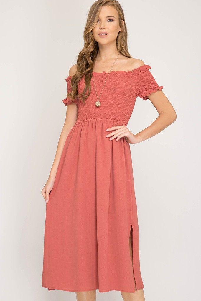 She + Sky Short Sleeve Off The Shoulder Smocked Woven Midi Dress