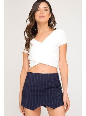 She + Sky Pin Striped Asymmetrical Skort
