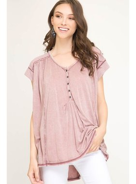 She + Sky Short Sleeve Dyed Knit Top