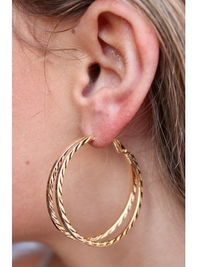 Caroline Hill Textured Split Hoop Earring