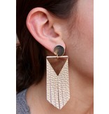 Caroline Hill Triangle Leather Fringe Post Drop Earring
