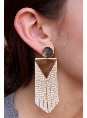 Caroline Hill Triangle Leather Fringe Post Drop Earring