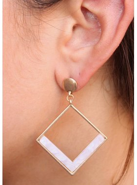 Caroline Hill Try Me Post Drop Metal Triangle and Resin Earring