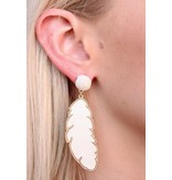 Caroline Hill Leather Feather and Metal Post Drop Earring