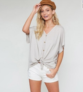 Fantastic Fawn Spandex Self Tie Front Buton Down Top