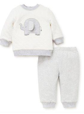 Little Me Elephant Sweatshirt Set