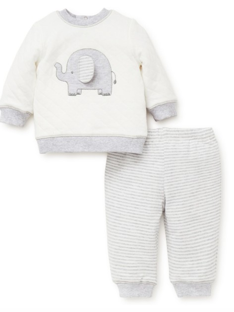 Little Me Elephant Sweatshirt Set