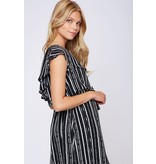 Peach Love California One Shoulder Stripe Print Woven Dress