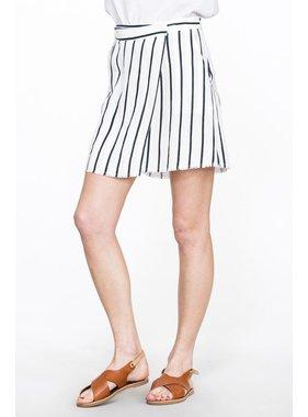 En Creme Stripe wrap skirt with pockets