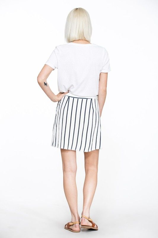 En Creme Stripe wrap skirt with pockets