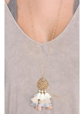 Caroline Hill Hanky Delicate Necklace with metal Bead filled circle and triple tassel pendant