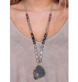 Caroline Hill Warb Large Crystal Bead Necklace with large druzy pendant