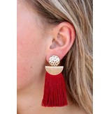 Caroline Hill Bandera Hammered Metal post with tassel fringe drop earring