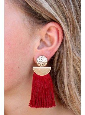 Caroline Hill Bandera Hammered Metal post with tassel fringe drop earring