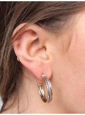 Caroline Hill Lancey Small Textured Hoop Earring