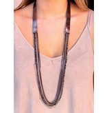 Caroline Hill Dale Metallic Leather with multi layer chain and bead necklace