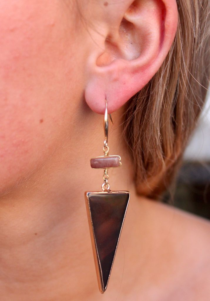 Caroline Hill Triangle Stone Fish Hook Earring