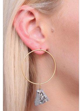 Caroline Hill Brass Hoop Post Earring with druzy drop