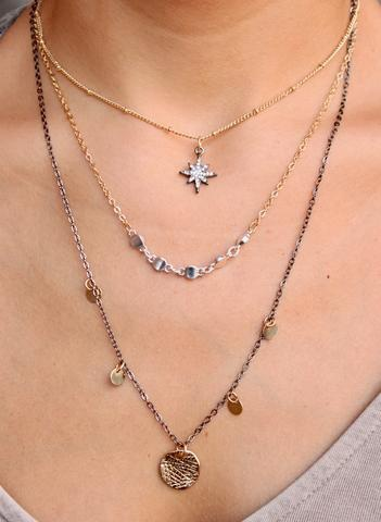 Caroline Hill Columba Multi Layer Necklace with CZ starburst