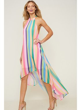 Fantastic Fawn Ranibow Hi-Lo Halter Dress