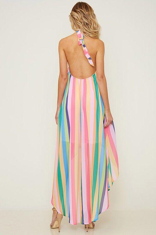 Fantastic Fawn Ranibow Hi-Lo Halter Dress