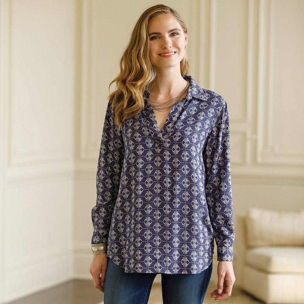 rockflowerpaper Devi Navy Twill Poet Shirt