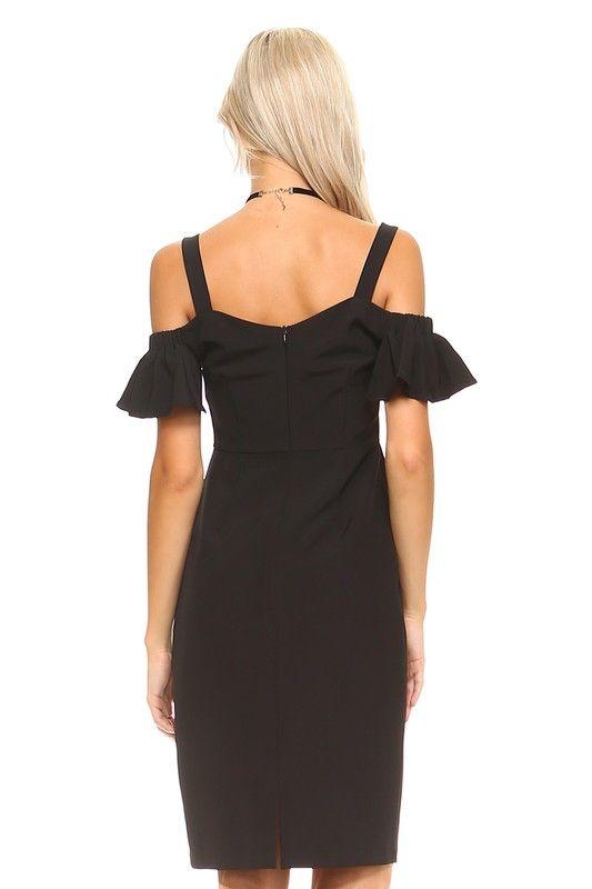 TCEC Ruffled Open Shoulder Dress