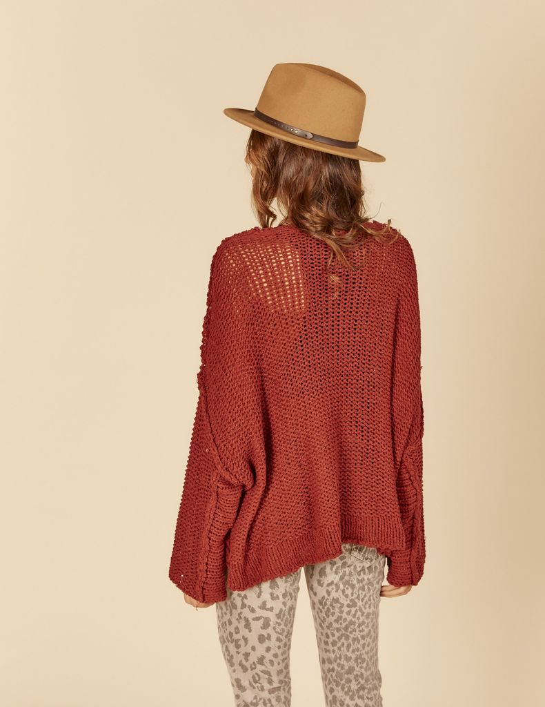 Vintage Havana Thick Knit Open Sleeve Sweater
