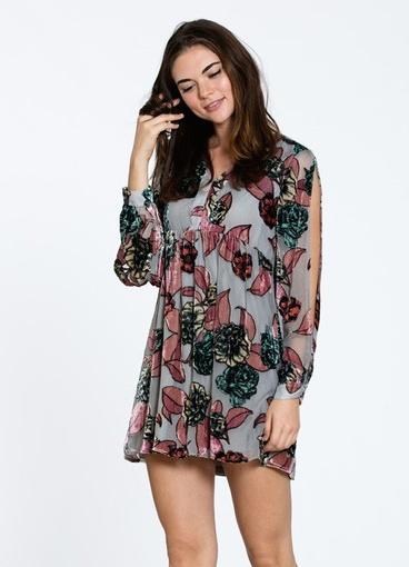 En Creme Long Sleeve dress with brushed velvet detailing