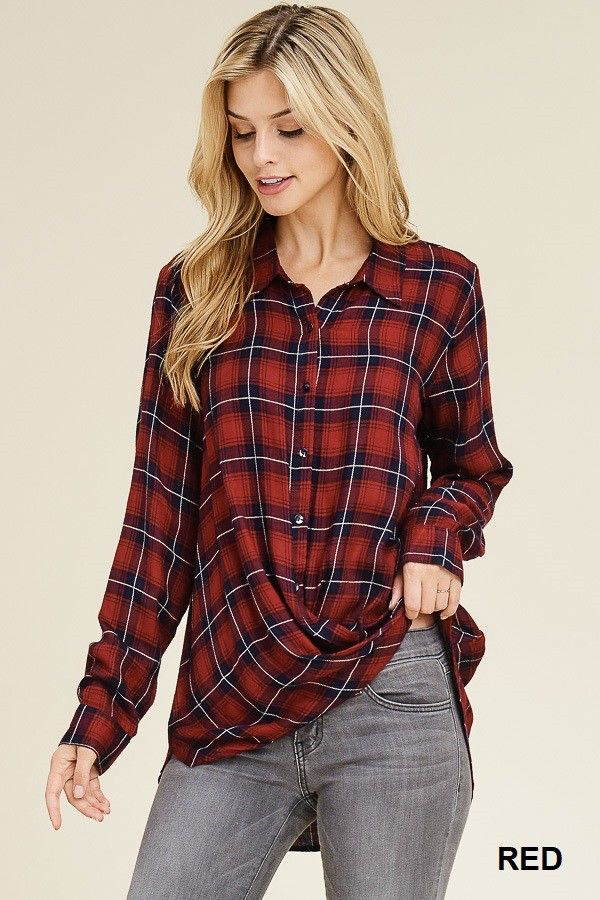 Staccato Basic Collar button down top with a twisted front hemline