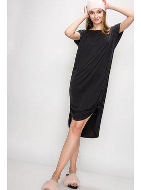 HYFVE Dropped shoulder curved raw edge hemline dress